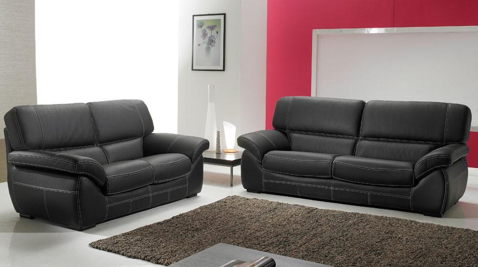 Canapé cuir noir 3+2 places