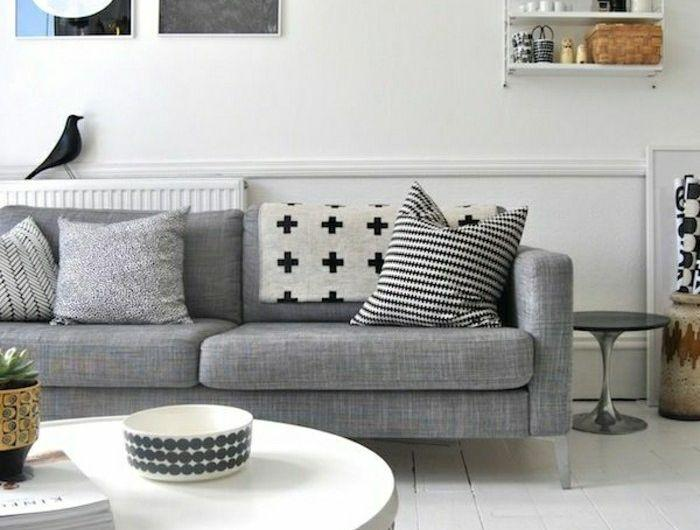 Canapé gris chiné