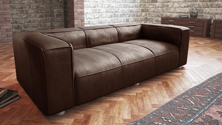 Canapé vintage cuir marron