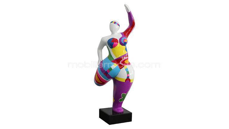 Statue femme ronde coloree
